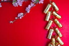 La prune chinoise de décorations de festival de nouvelle année fleurit sur le rouge avec Photos libres de droits