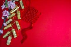 La prune chinoise de décorations de festival de nouvelle année fleurit sur le rouge avec Photos stock
