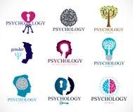 La psicologia, il cervello e la salute mentale vector le icone o la l concettuali illustrazione di stock
