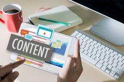 la publication Blogging de media de vente de données satisfaites de contenu informent photographie stock