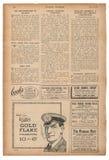 La publicidad inglesa del texto de la página del periódico representa el magazin del vintage Imagen de archivo libre de regalías