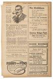 La publicidad inglesa del texto de la página del periódico representa la parte posterior usada del papel Foto de archivo libre de regalías