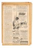 La publicidad inglesa usada del texto de la página de papel representa newspa del vintage Imágenes de archivo libres de regalías