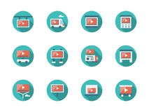 La publicidad video pone iconos redondos planos libre illustration