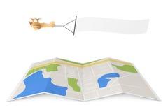 La publicité blanc d'antenne Toy Airplane en bois avec la bannière vide Photo libre de droits