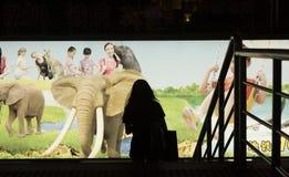 La publicité dans le souterrain à Changhaï, Chine image libre de droits