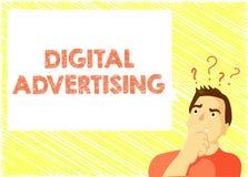 La publicité de Digital des textes d'écriture de Word Le concept d'affaires pour le marketing en ligne fournissent la campagne pr illustration libre de droits