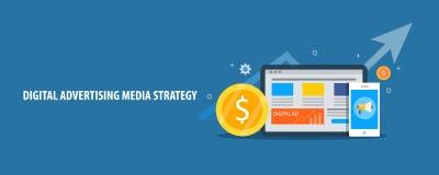 La publicité de Digital et stratégie de media, concept payé de campagne de marketing Bannière plate de vecteur de conception illustration libre de droits