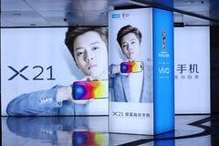 La publicité de téléphone portable de Vivo X.21 Photos libres de droits