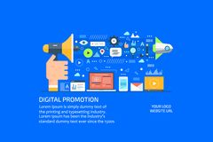 La publicité et promotion d'Internet de Digital, media social et communication Bannière plate de vente de conception Photos libres de droits