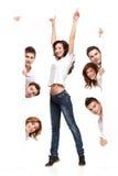 La publicité heureuse de femme et d'amis Photos libres de droits