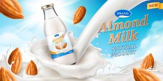 La publicité pour le lait d'amande avec la bouteille de verrerie illustration stock