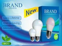 La publicité réaliste d'ampoule de photo dans le format editable de vecteur illustration 3D Image libre de droits