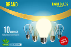 La publicité réaliste d'ampoule de photo dans le format editable de vecteur illustration 3D Image stock