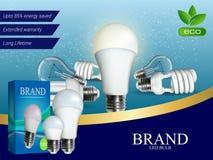 La publicité réaliste d'ampoule de photo dans le format editable de vecteur illustration 3D Photographie stock libre de droits