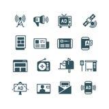 La publicité sur l'écran, faisant de la publicité la télévision, annonce extérieure, les annonces en ligne dirigent des icônes illustration de vecteur
