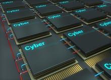 La puce, la microélectronique, la technologie de cyber, 3d rendent l'illustration illustration de vecteur