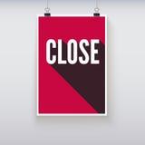 La puerta cercana de las compras firma al tablero Foto de archivo