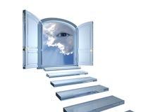 La puerta cristalina grande se abrió en un ojo místico en nubes Foto de archivo libre de regalías