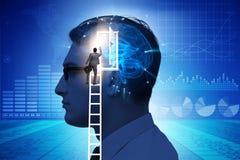 La puerta de abertura del hombre de negocios a la inteligencia artificial imagen de archivo libre de regalías