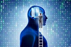 La puerta de abertura del hombre de negocios a la inteligencia artificial imagen de archivo