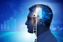 La puerta de abertura del hombre de negocios a la inteligencia artificial foto de archivo