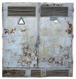 La puerta de acero oxidada del vinage se pinta con el PA azul de la explosión desnuda fotos de archivo