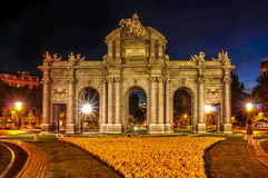 La Puerta de Alcala in Madrid, Spain, at night Stock Images