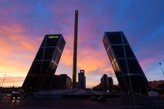 La Puerta de Europa in dusk. Madrid, Spain Stock Image