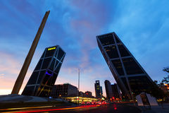 La Puerta de Europa in evening. Madrid, Spain Royalty Free Stock Image