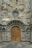La puerta de la iglesia el sacros di San Micaela Foto de archivo libre de regalías
