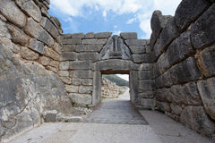 La puerta de los leones en Mycenae Imagen de archivo libre de regalías