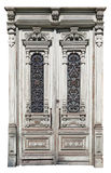 La puerta de madera curvada desigual del vinage Fotografía de archivo libre de regalías