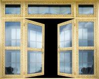 La puerta de oro de la arquitectura elegante se abre Imagenes de archivo