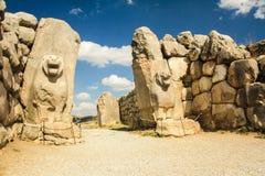 La puerta del león, imperio de Hattusha Imagenes de archivo