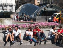 La Puerta del Sol, Madrid arkivbilder