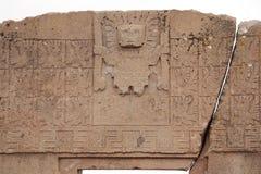 La puerta del Sun con dios de Viracocha, Tiwanaku, Bolivia Fotografía de archivo
