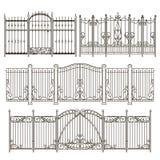 La puerta y la cerca del hierro diseñan con diversos elementos decorativos Graphhics del vector ilustración del vector