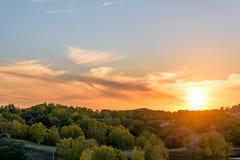 La puesta del sol Imagen de archivo libre de regalías