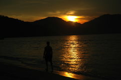 La puesta del sol Foto de archivo libre de regalías