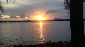 La puesta del sol capturó de la bahía de Miami almacen de video