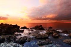 La puesta del sol de la ensenada Imágenes de archivo libres de regalías