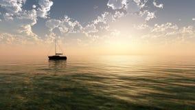 La puesta del sol de la fantasía navega caliente stock de ilustración