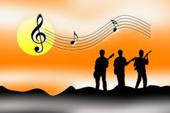 La puesta del sol de la salida del sol celebra música Foto de archivo libre de regalías