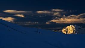 La puesta del sol de Meri Snow Mountain Imágenes de archivo libres de regalías