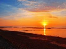 La puesta del sol de la playa, Imperia, Italia, Europa Foto de archivo