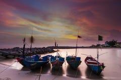 La puesta del sol del barco Imágenes de archivo libres de regalías