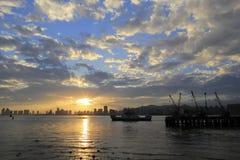 La puesta del sol del embarcadero del tongyi Foto de archivo libre de regalías