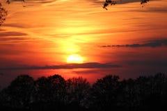 La puesta del sol del groenlo Foto de archivo