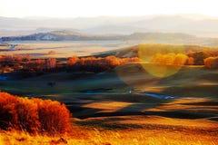 La puesta del sol del prado del otoño Imágenes de archivo libres de regalías